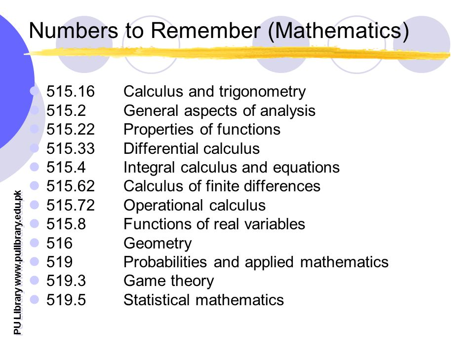 PU Library   Numbers to Remember (Mathematics) Calculus and trigonometry General aspects of analysis Properties of functions Differential calculus Integral calculus and equations Calculus of finite differences Operational calculus Functions of real variables 516 Geometry 519 Probabilities and applied mathematics Game theory Statistical mathematics