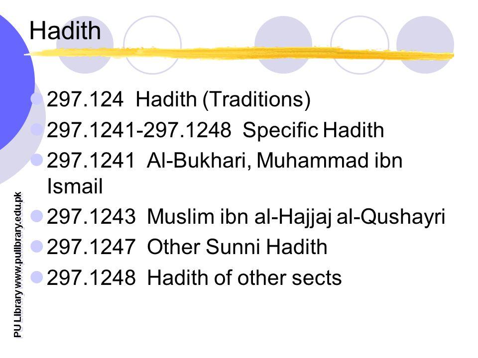 PU Library www.pulibrary.edu.pk Hadith 297.124 Hadith (Traditions) 297.1241-297.1248 Specific Hadith 297.1241 Al-Bukhari, Muhammad ibn Ismail 297.1243 Muslim ibn al-Hajjaj al-Qushayri 297.1247 Other Sunni Hadith 297.1248 Hadith of other sects