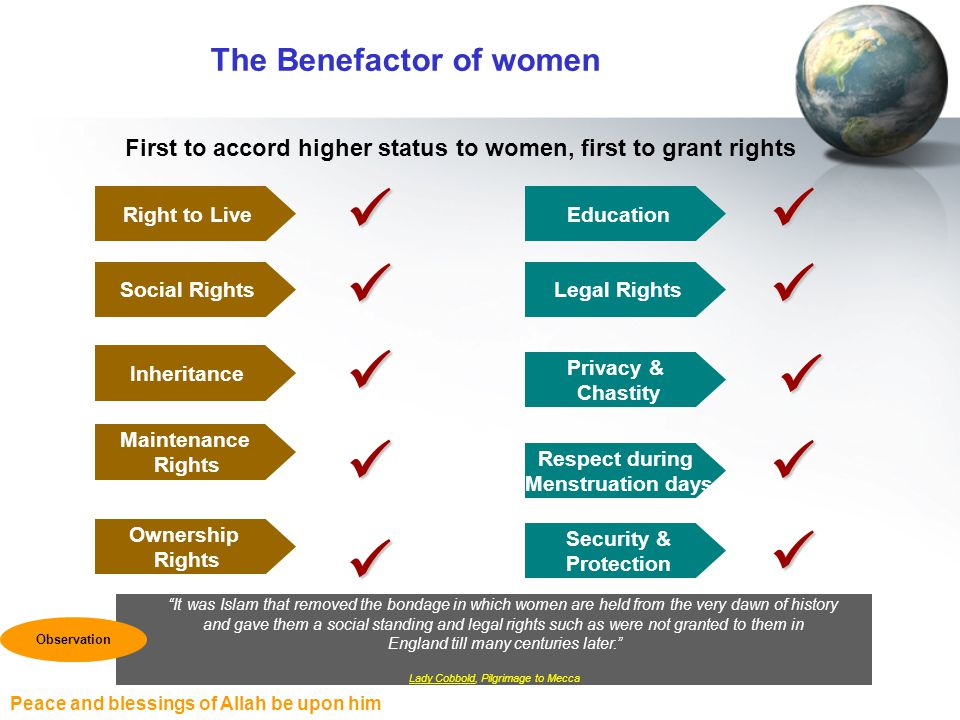 Peace and blessings of Allah be upon him The Benefactor of women First to accord higher status to women, first to grant rights It was Islam that remov
