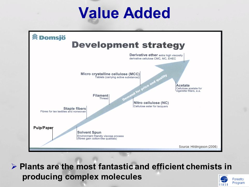 Forestry Program Value Added Pulp/Paper Source: Hildingsson (2006) Plants are the most fantastic and efficient chemists in producing complex molecules