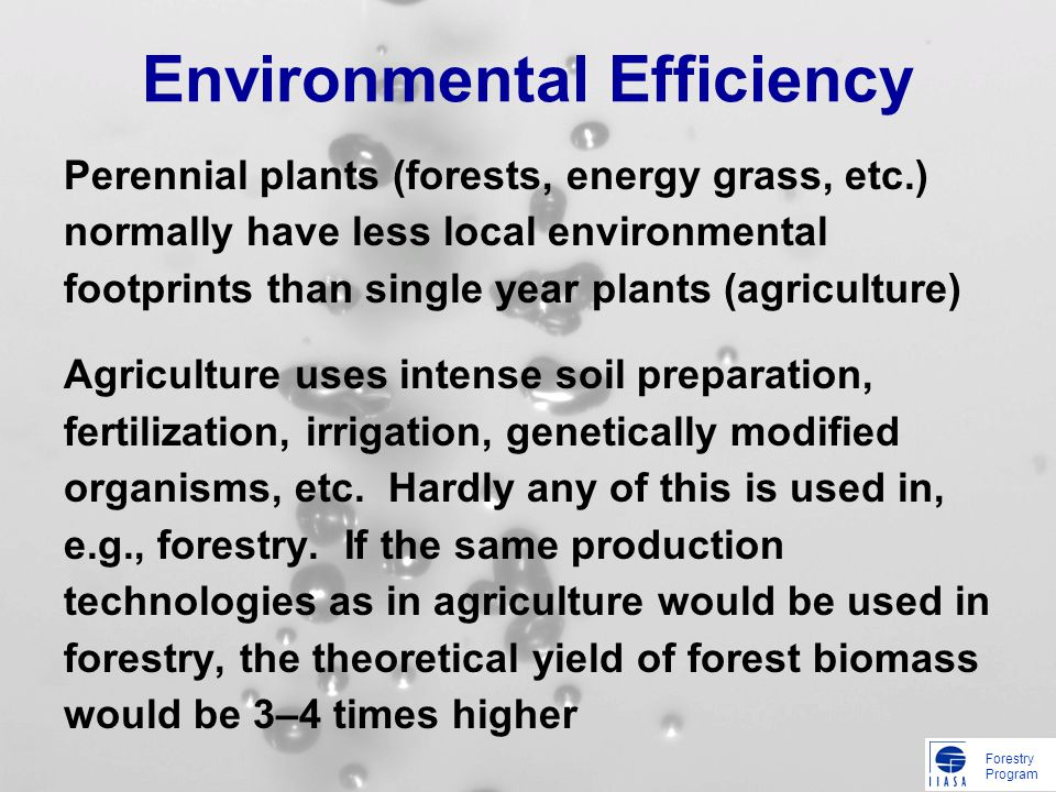 Forestry Program Environmental Efficiency Perennial plants (forests, energy grass, etc.) normally have less local environmental footprints than single