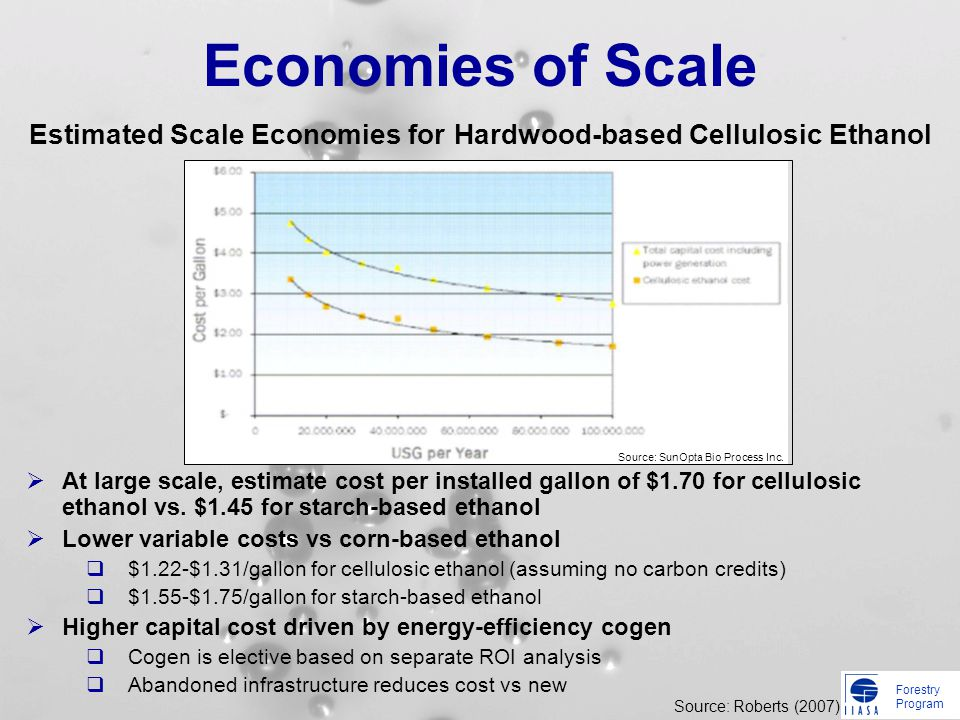 Forestry Program Economies of Scale At large scale, estimate cost per installed gallon of $1.70 for cellulosic ethanol vs. $1.45 for starch-based etha