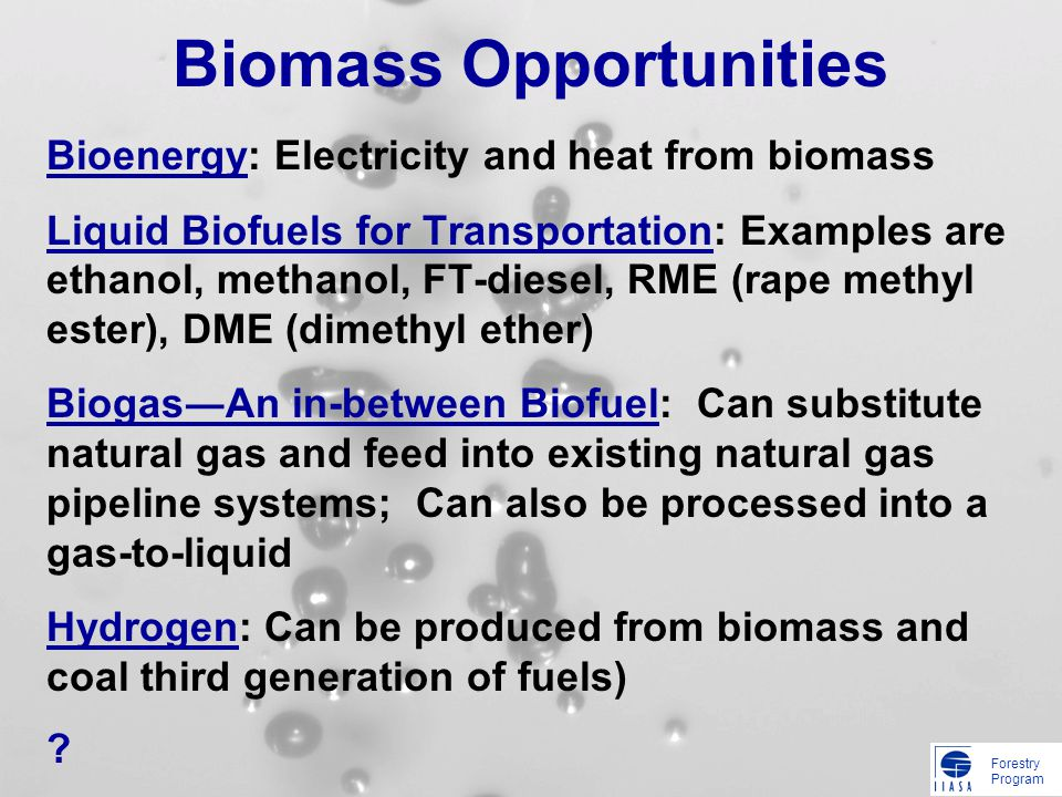Forestry Program Biomass Opportunities Bioenergy: Electricity and heat from biomass Liquid Biofuels for Transportation: Examples are ethanol, methanol, FT-diesel, RME (rape methyl ester), DME (dimethyl ether) BiogasAn in-between Biofuel: Can substitute natural gas and feed into existing natural gas pipeline systems; Can also be processed into a gas-to-liquid Hydrogen: Can be produced from biomass and coal third generation of fuels) ?