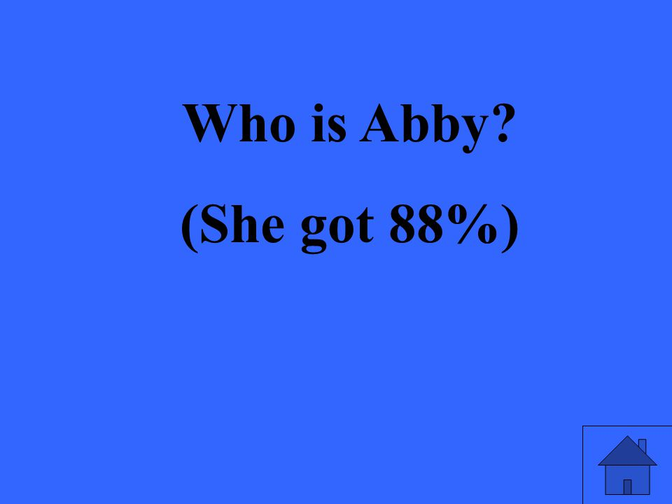 Who is Abby? (She got 88%)
