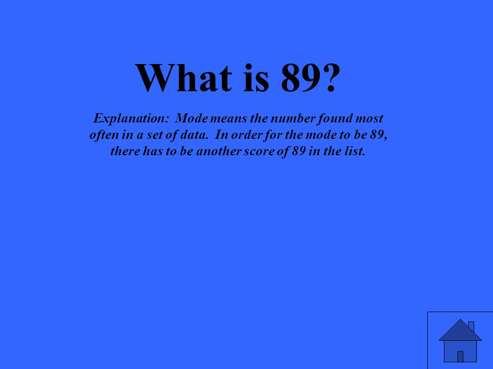 What is 89? Explanation: Mode means the number found most often in a set of data. In order for the mode to be 89, there has to be another score of 89