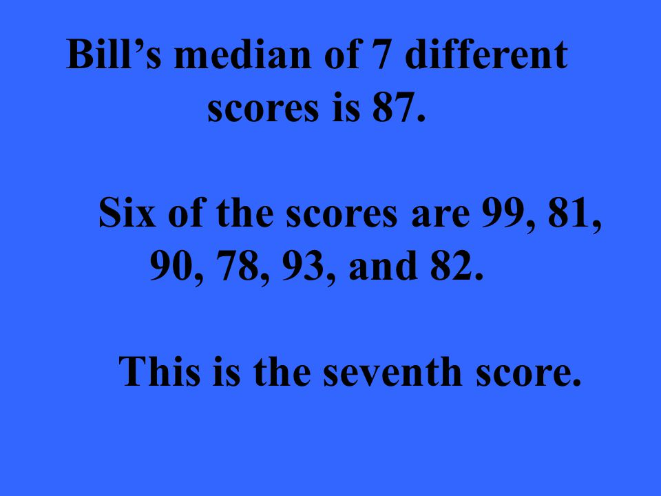 Bills median of 7 different scores is 87. Six of the scores are 99, 81, 90, 78, 93, and 82. This is the seventh score.