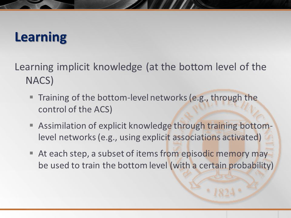 Learning Learning implicit knowledge (at the bottom level of the NACS) Training of the bottom-level networks (e.g., through the control of the ACS) Assimilation of explicit knowledge through training bottom- level networks (e.g., using explicit associations activated) At each step, a subset of items from episodic memory may be used to train the bottom level (with a certain probability)