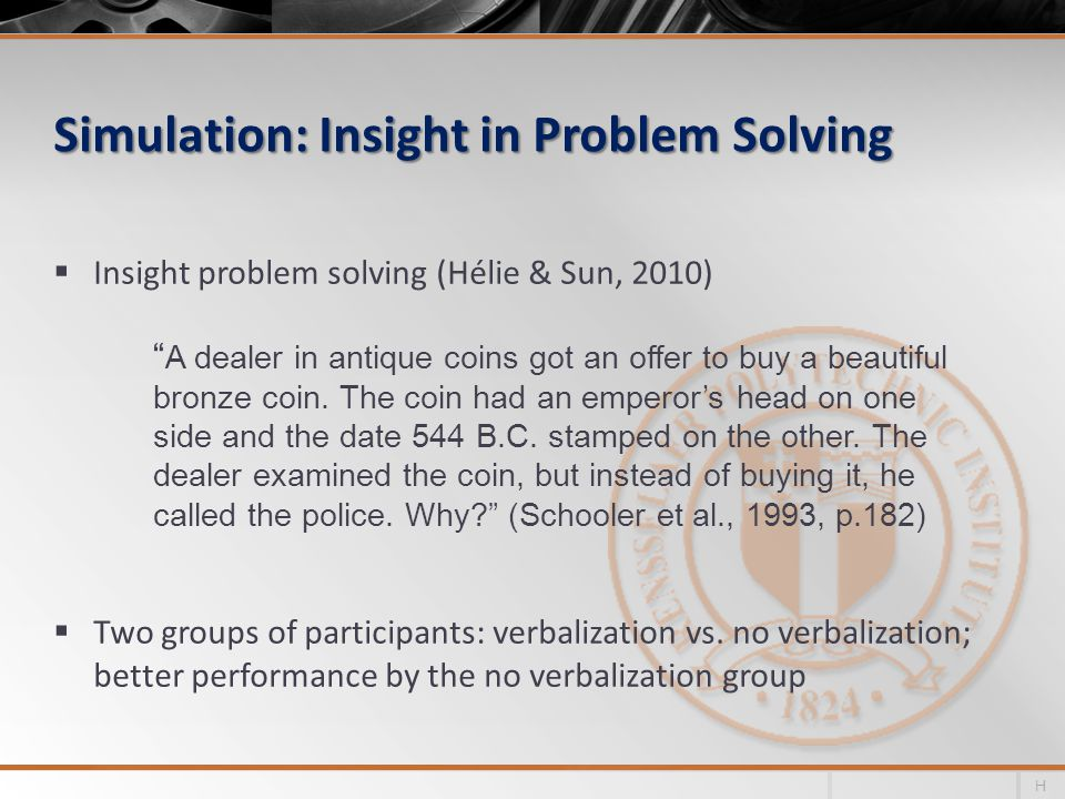 Simulation: Insight in Problem Solving Insight problem solving (Hélie & Sun, 2010) Two groups of participants: verbalization vs.