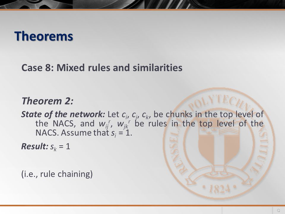Theorems Case 8: Mixed rules and similarities Theorem 2: State of the network: Let c i, c j, c k, be chunks in the top level of the NACS, and w ij r, w jk r be rules in the top level of the NACS.