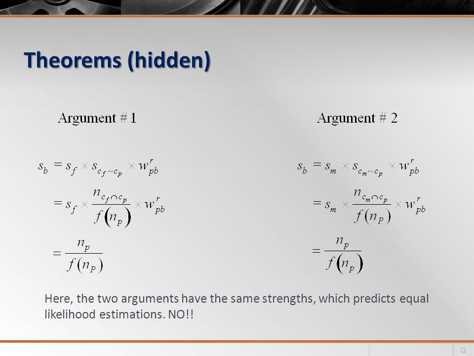 Theorems (hidden) Here, the two arguments have the same strengths, which predicts equal likelihood estimations.