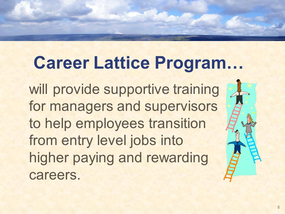 Career Lattice Program… will provide supportive training for managers and supervisors to help employees transition from entry level jobs into higher paying and rewarding careers.