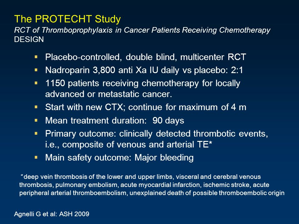 The PROTECHT Study RCT of Thromboprophylaxis in Cancer Patients Receiving Chemotherapy DESIGN Placebo-controlled, double blind, multicenter RCT Nadroparin 3,800 anti Xa IU daily vs placebo: 2:1 1150 patients receiving chemotherapy for locally advanced or metastatic cancer.