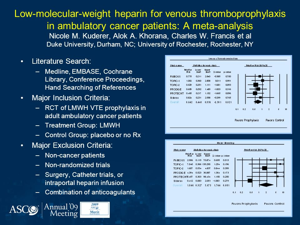 Low-molecular-weight heparin for venous thromboprophylaxis in ambulatory cancer patients: A meta-analysis Nicole M.