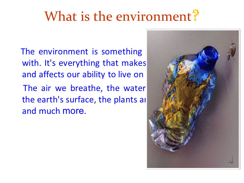 What is the environment .The environment is something you are very familiar with.