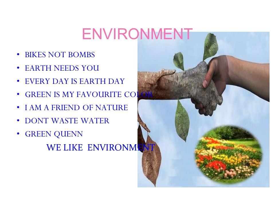 ENVIRONMENT BIKES NOT BOMBS EARTH NEEDS YOU EVERY DAY IS EARTH DAY GREEN IS MY FAVOURITE COLOR I AM A FRIEND OF NATURE DONT WASTE WATER GREEN QUENN WE LIKE ENVIRONMENT
