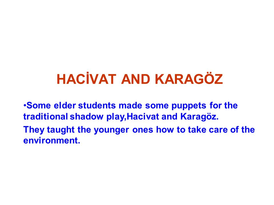 HACİVAT AND KARAGÖZ Some elder students made some puppets for the traditional shadow play,Hacivat and Karagöz.