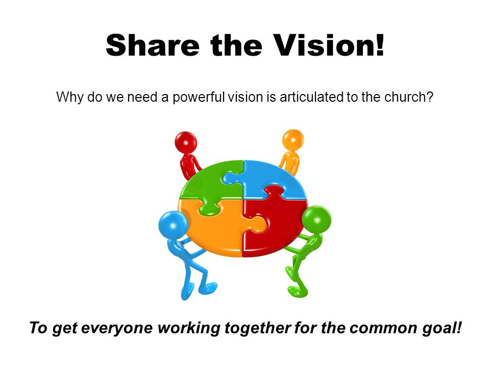 Share the Vision. Why do we need a powerful vision is articulated to the church.