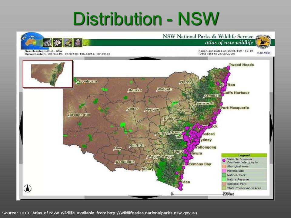 Distribution - NSW Source: DECC Atlas of NSW Wildlife Available from http://wildlifeatlas.nationalparks.nsw.gov.au