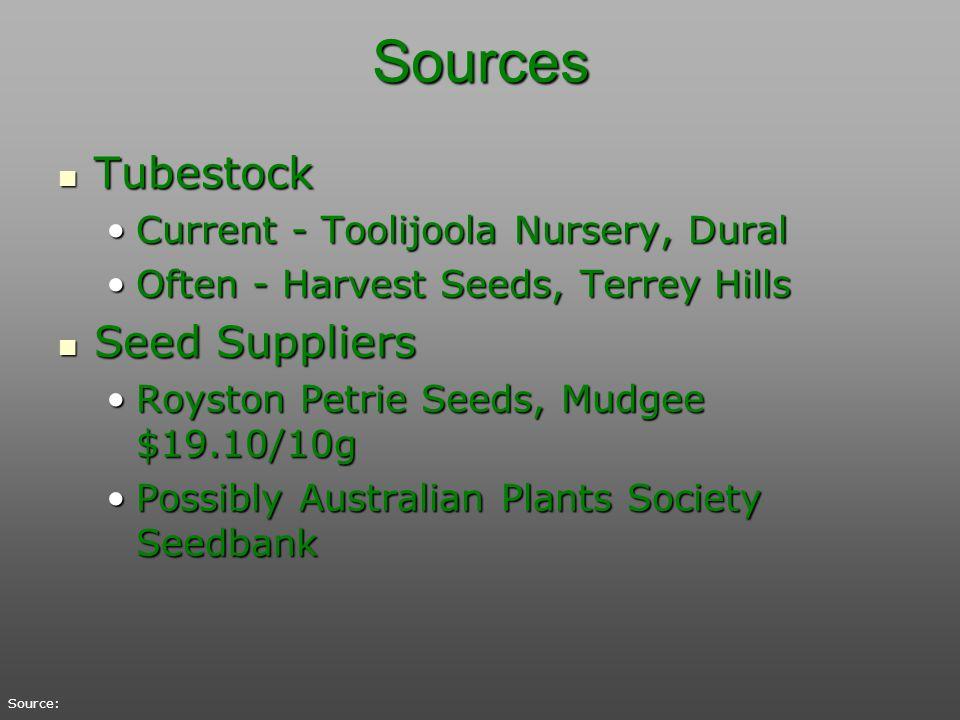 Sources Tubestock Tubestock Current - Toolijoola Nursery, DuralCurrent - Toolijoola Nursery, Dural Often - Harvest Seeds, Terrey HillsOften - Harvest
