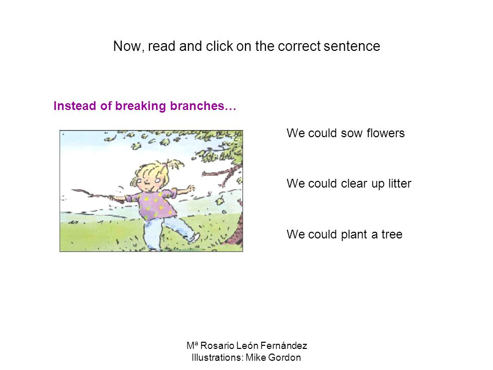 Mª Rosario León Fernández Illustrations: Mike Gordon Now, read and click on the correct sentence We could sow flowers We could clear up litter We could plant a tree Instead of breaking branches…