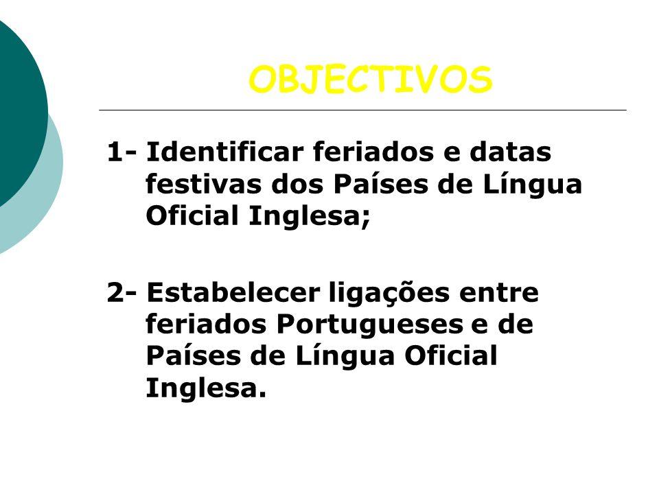 OBJECTIVOS 1- Identificar feriados e datas festivas dos Países de Língua Oficial Inglesa; 2- Estabelecer ligações entre feriados Portugueses e de País