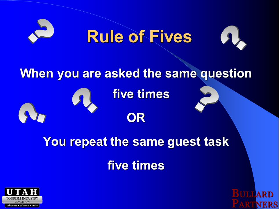 Proactive Approach The Rule of Fives The Rule of Fives Time vs. Money Time vs. Money