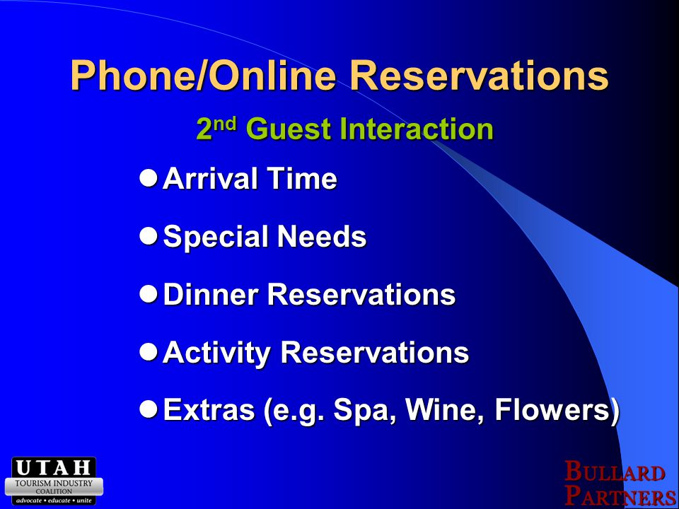 Website Specials Specials Activities Activities Room Amenities Room Amenities Availability Availability 1 st Guest Interaction