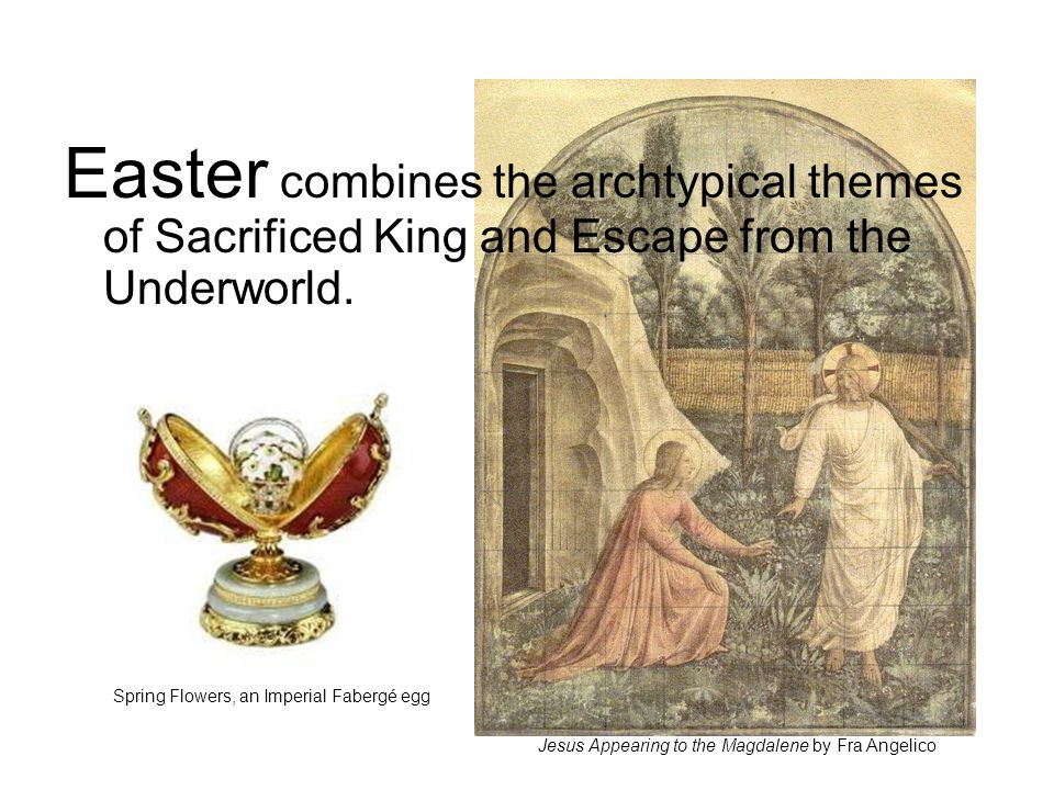 Easter combines the archtypical themes of Sacrificed King and Escape from the Underworld.