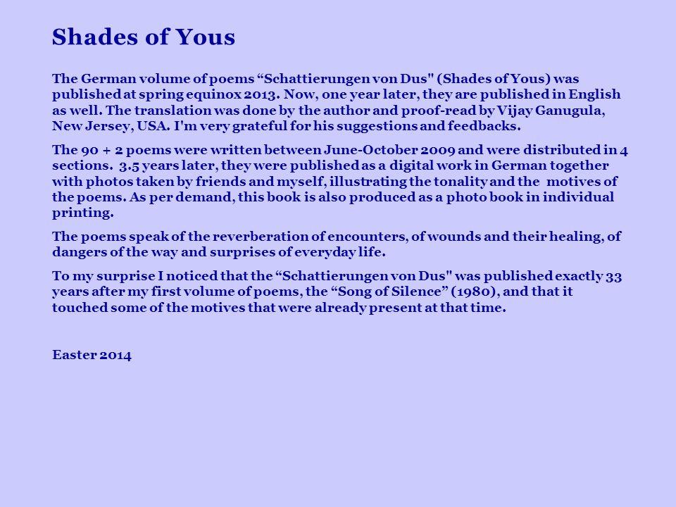 Shades of Yous The German volume of poems Schattierungen von Dus