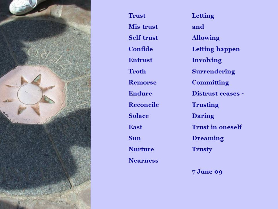Trust Mis-trust Self-trust Confide Entrust Troth Remorse Endure Reconcile Solace East Sun Nurture Nearness Letting and Allowing Letting happen Involvi