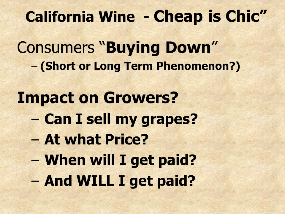 California Wine - Cheap is Chic Consumers Buying Down –(Short or Long Term Phenomenon ) Impact on Growers.