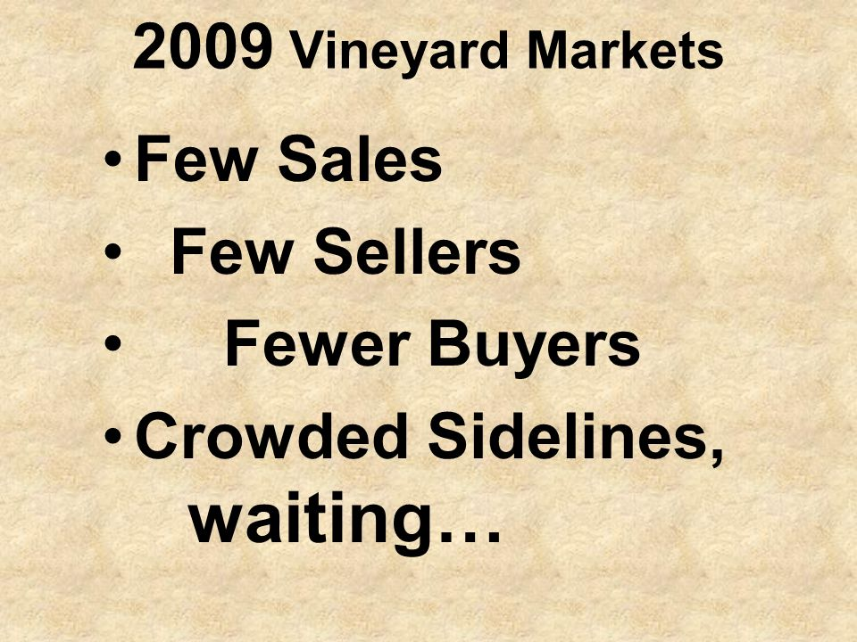 2009 Vineyard Markets Few Sales Few Sellers Fewer Buyers Crowded Sidelines, waiting…