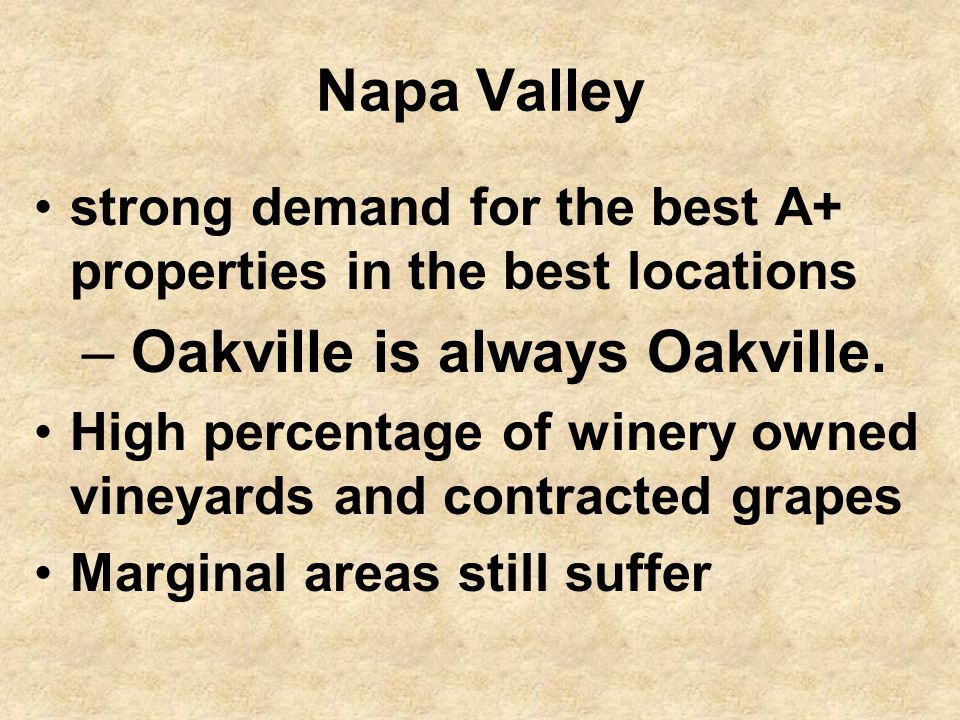 Napa Valley strong demand for the best A+ properties in the best locations – Oakville is always Oakville.