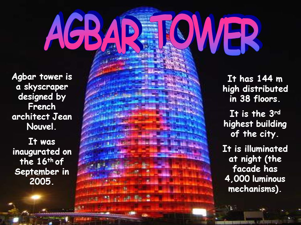 It has 144 m high distributed in 38 floors. It is the 3 rd highest building of the city.