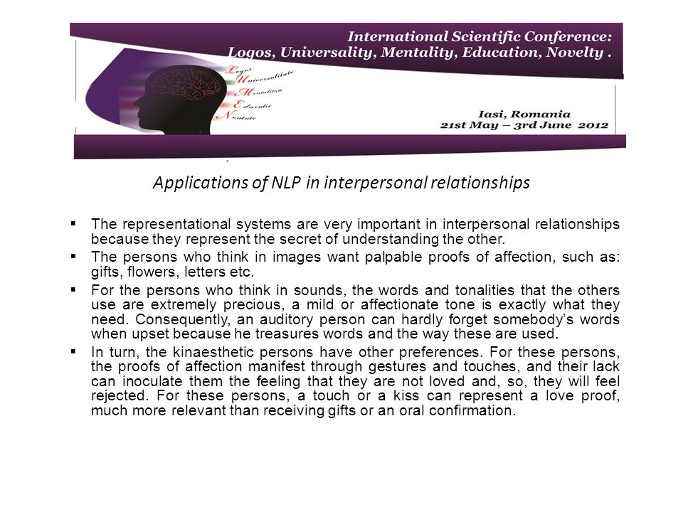 Applications of NLP in interpersonal relationships The representational systems are very important in interpersonal relationships because they represent the secret of understanding the other.