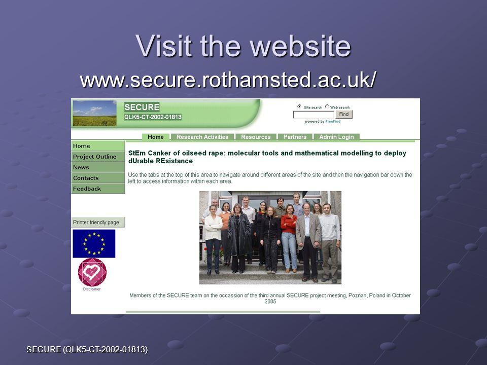 SECURE (QLK5-CT-2002-01813) Visit the website www.secure.rothamsted.ac.uk/