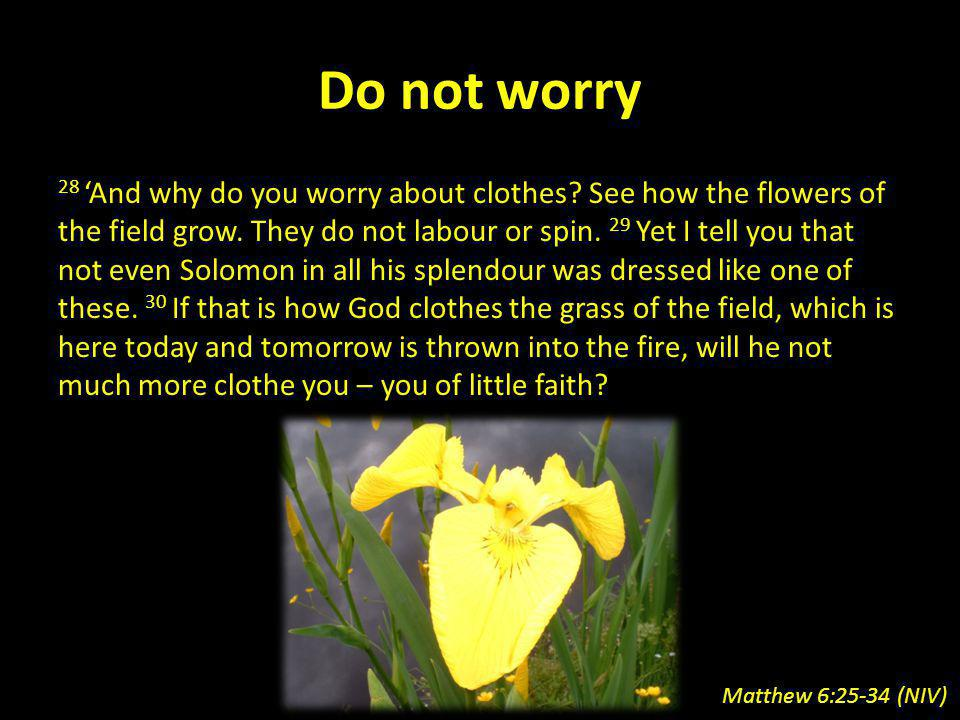 Do not worry 28 And why do you worry about clothes? See how the flowers of the field grow. They do not labour or spin. 29 Yet I tell you that not even