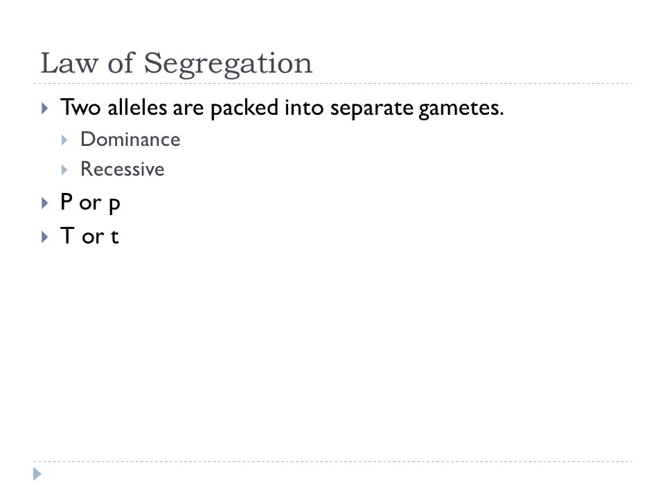 Law of Segregation Two alleles are packed into separate gametes. Dominance Recessive P or p T or t