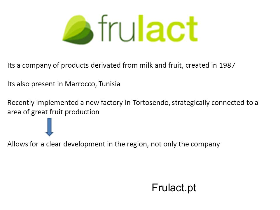 Its a company of products derivated from milk and fruit, created in 1987 Its also present in Marrocco, Tunisia Recently implemented a new factory in T