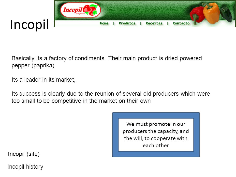 Incopil Basically its a factory of condiments. Their main product is dried powered pepper (paprika) Its a leader in its market, Its success is clearly