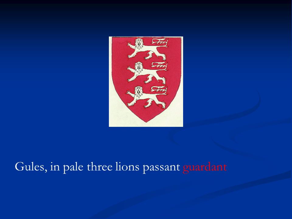 Gules, in pale three lions passant guardant
