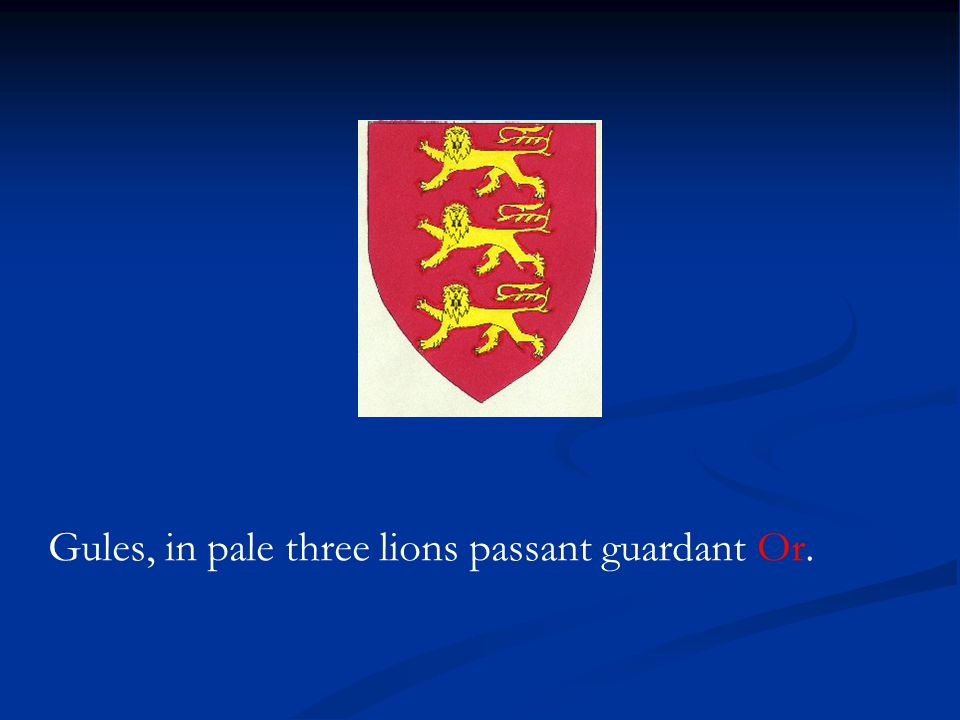 Gules, in pale three lions passant guardant Or.