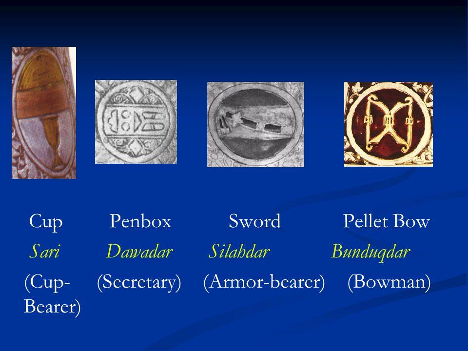 Cup Penbox Sword Pellet Bow Sari Dawadar Silahdar Bunduqdar (Cup- (Secretary) (Armor-bearer) (Bowman) Bearer)