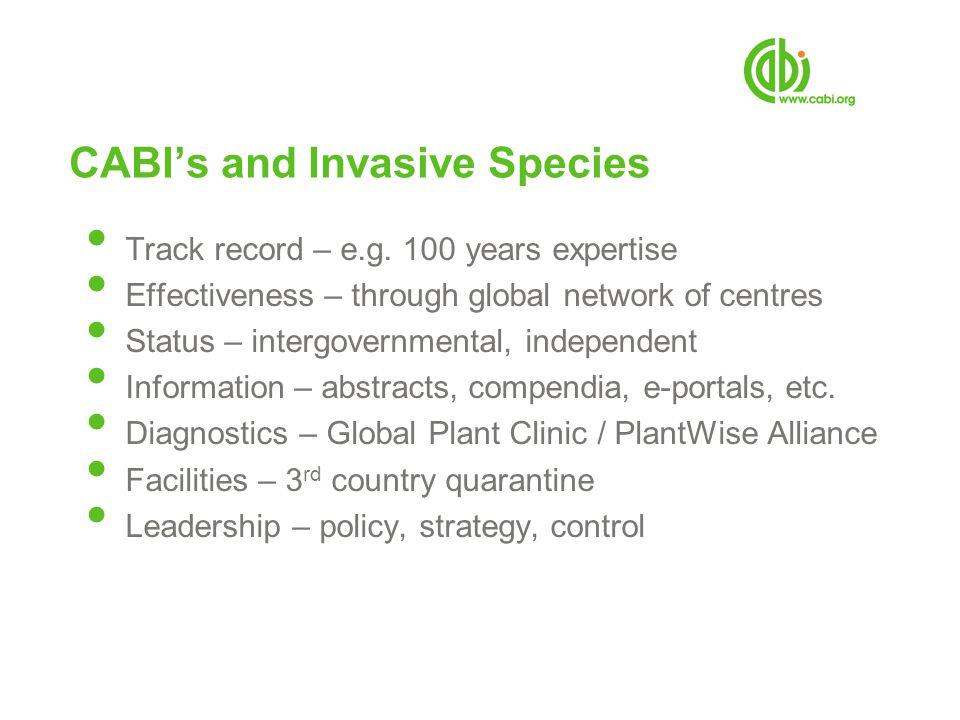 CABIs and Invasive Species Track record – e.g.