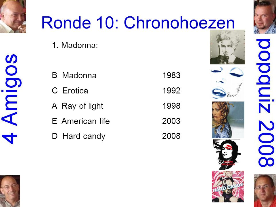 1. Madonna: B Madonna1983 C Erotica1992 A Ray of light1998 E American life2003 D Hard candy2008