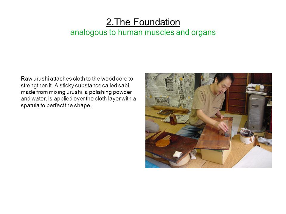 2.The Foundation analogous to human muscles and organs Raw urushi attaches cloth to the wood core to strengthen it. A sticky substance called sabi, ma