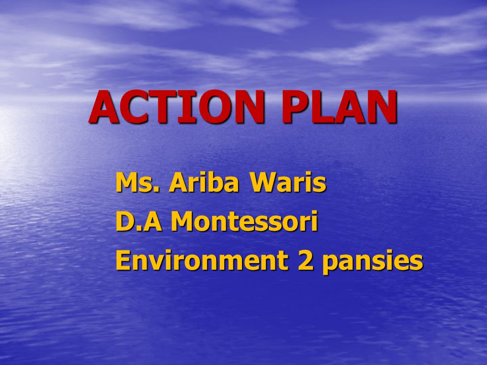 ACTION PLAN Ms. Ariba Waris D.A Montessori Environment 2 pansies