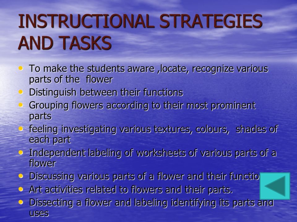 INSTRUCTIONAL STRATEGIES AND TASKS To make the students aware,locate, recognize various parts of the flower To make the students aware,locate, recognize various parts of the flower Distinguish between their functions Distinguish between their functions Grouping flowers according to their most prominent parts Grouping flowers according to their most prominent parts feeling investigating various textures, colours, shades of each part feeling investigating various textures, colours, shades of each part Independent labeling of worksheets of various parts of a flower Independent labeling of worksheets of various parts of a flower Discussing various parts of a flower and their function Discussing various parts of a flower and their function Art activities related to flowers and their parts.