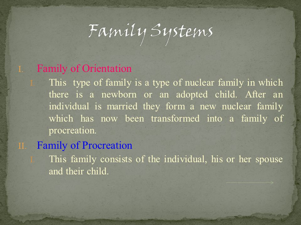 I. Family of Orientation I.