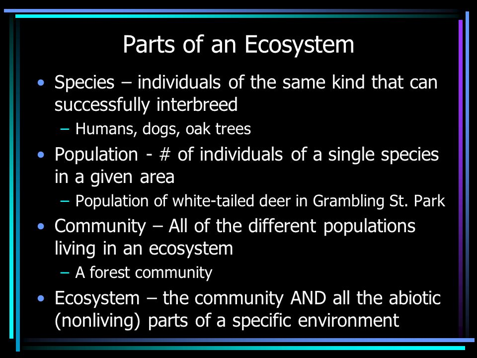 Parts of an Ecosystem Species – individuals of the same kind that can successfully interbreed –Humans, dogs, oak trees Population - # of individuals of a single species in a given area –Population of white-tailed deer in Grambling St.